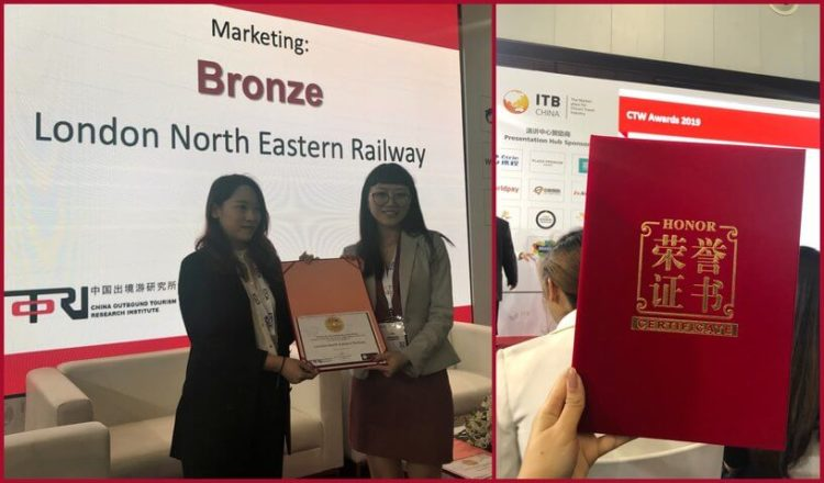 London North Eastern Railway wins CTW Chinese Tourist Welcome Award